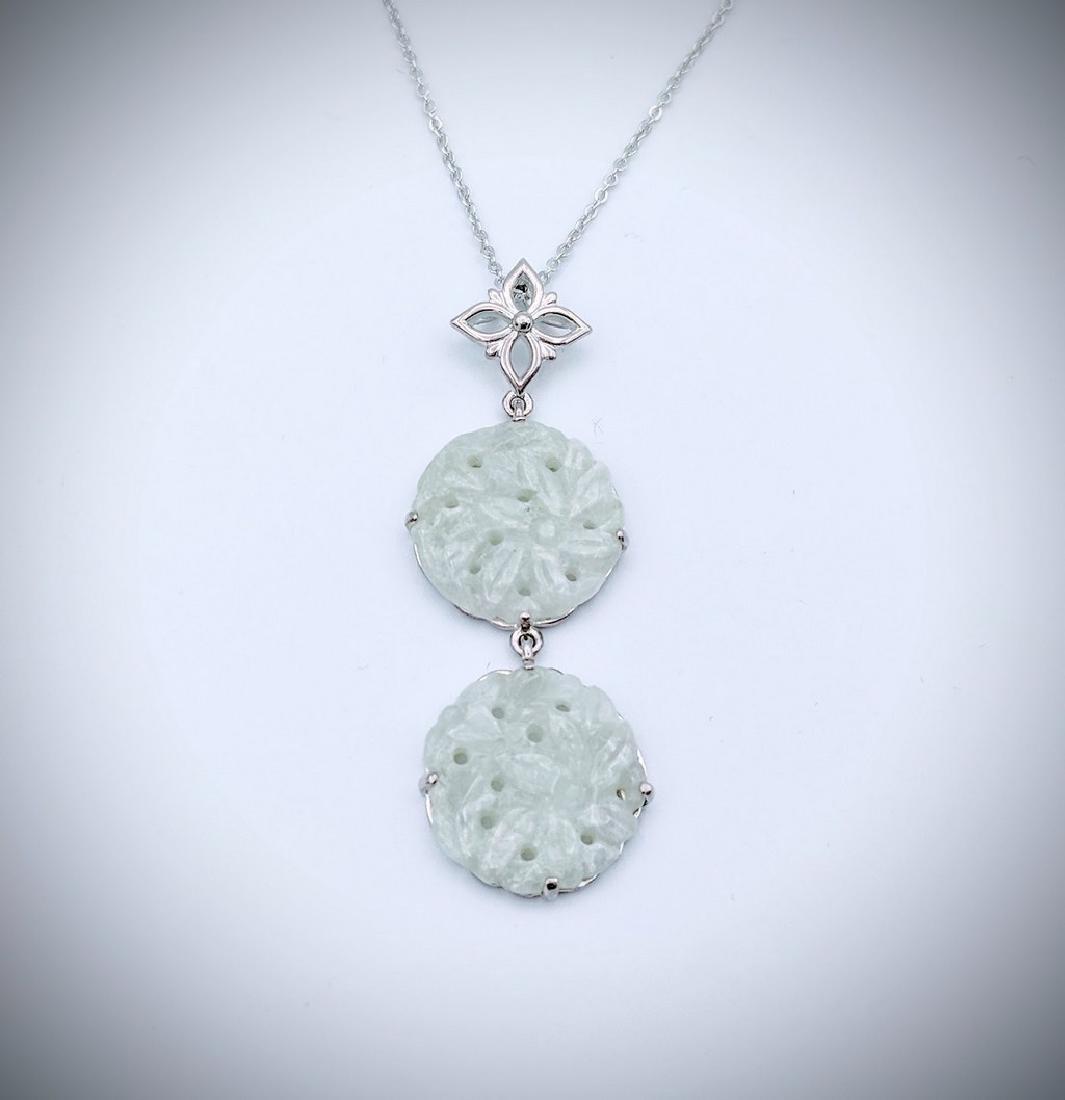 Sterling Silver Eangraved Jade Drop Necklace