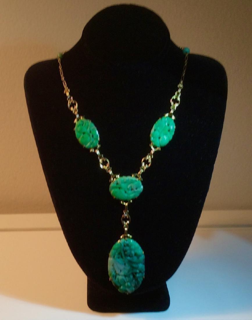 Natural Green Carved Jade 14K Gold Necklace