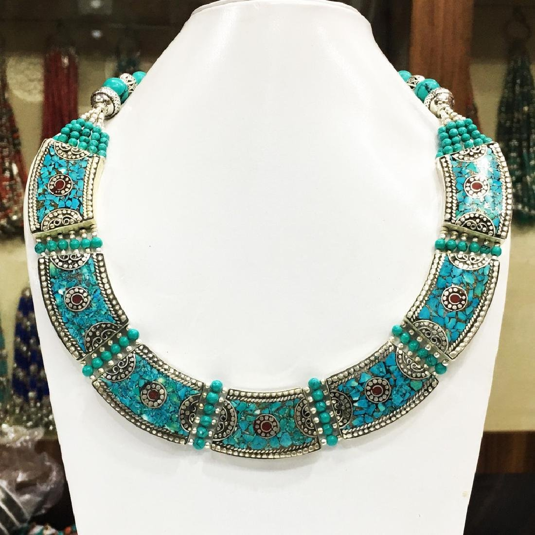 Tibetan Silver Green Turquoise & Coral Necklace