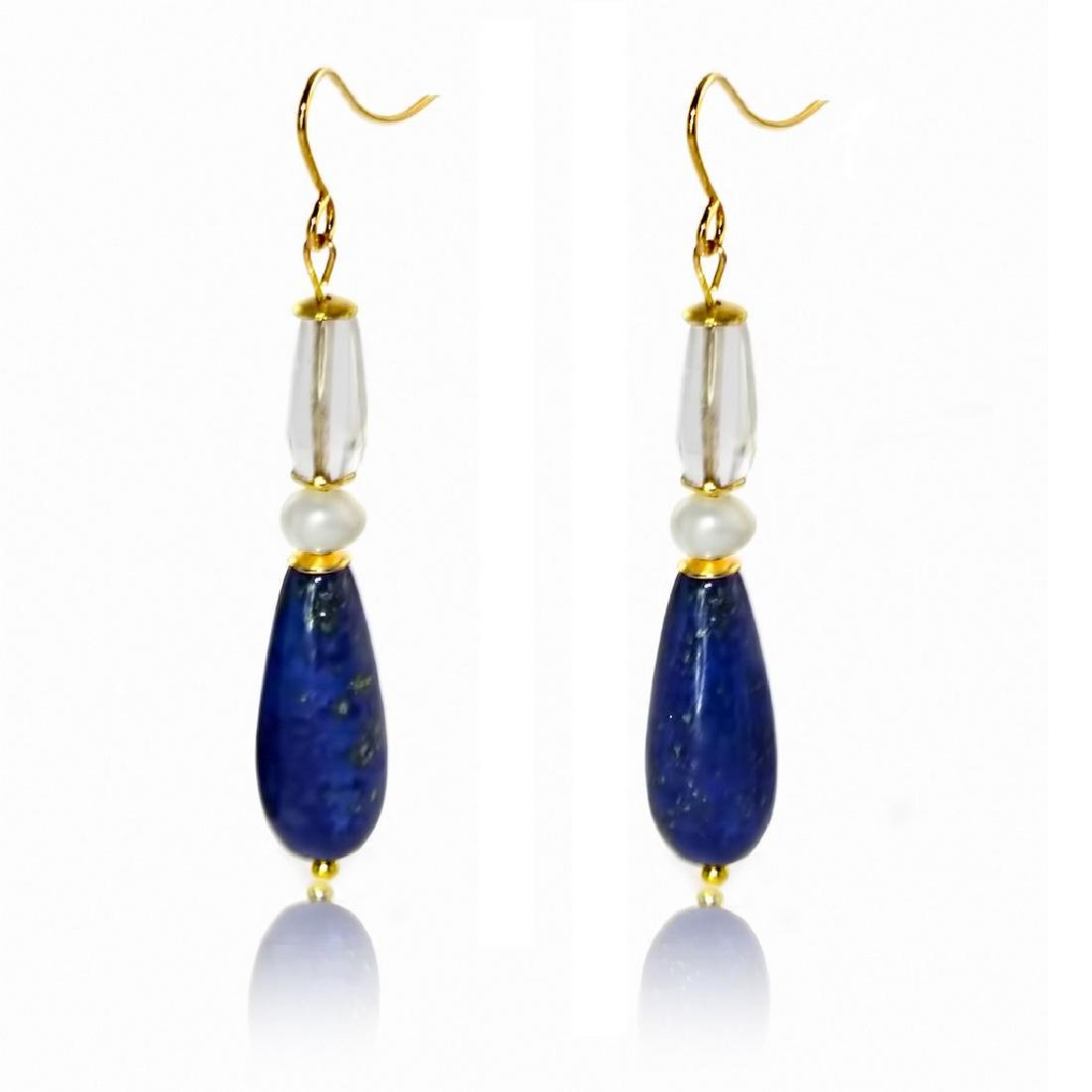 14K Drop Retro Style Lapis Lazuli, Pearl and Hyaline