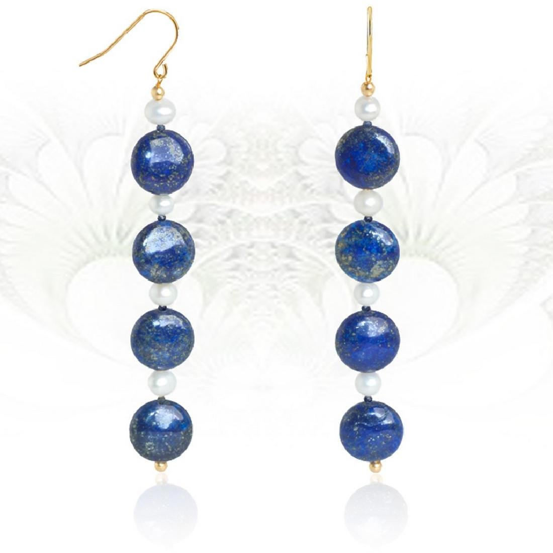 Long 14K Line Earrings with Lapis lazuli, Pearls and