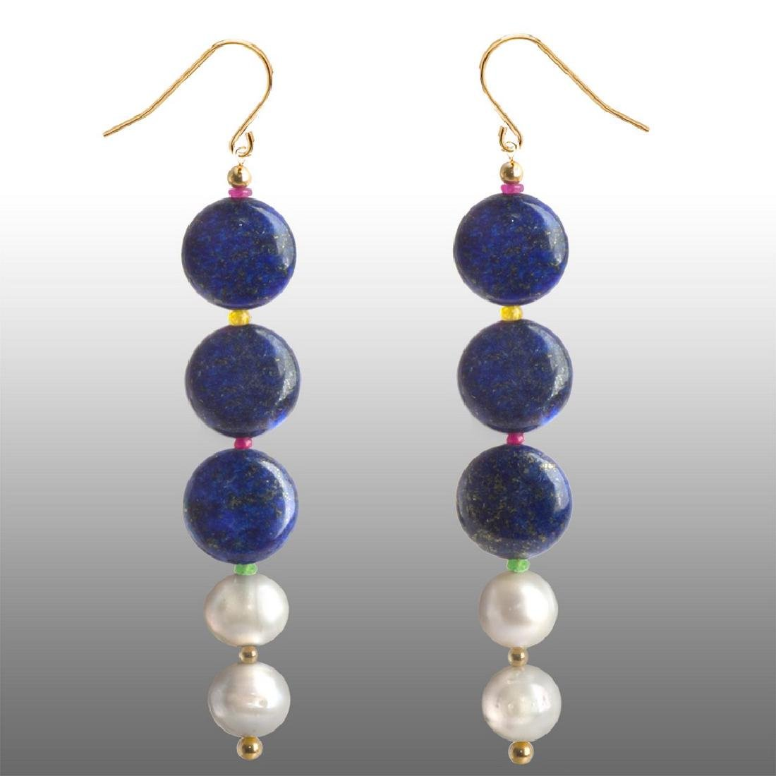 14K Afghan Lapis Lazuli, Sapphire, Emerald and Ruby