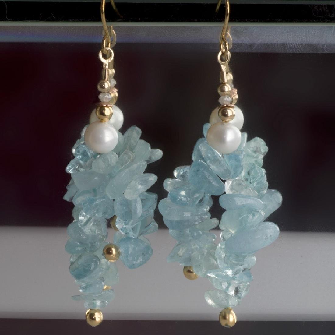 14K Art Nouveux Style Aquamarine Earrings with Pearls
