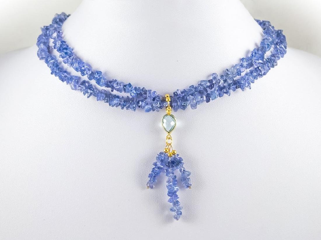 14K Two Strand Tanzanite Necklace with 2.2 carat Sky