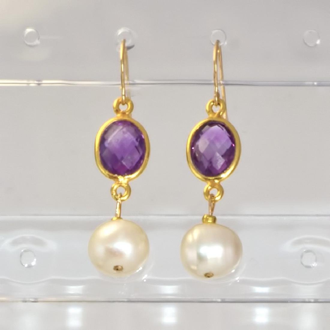14K Earrings with Pearls and Brazilian Amethysts