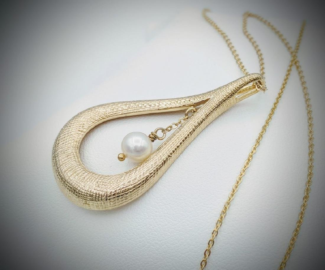 Gold Plated Sterling Silver Dangling Pearl Necklace