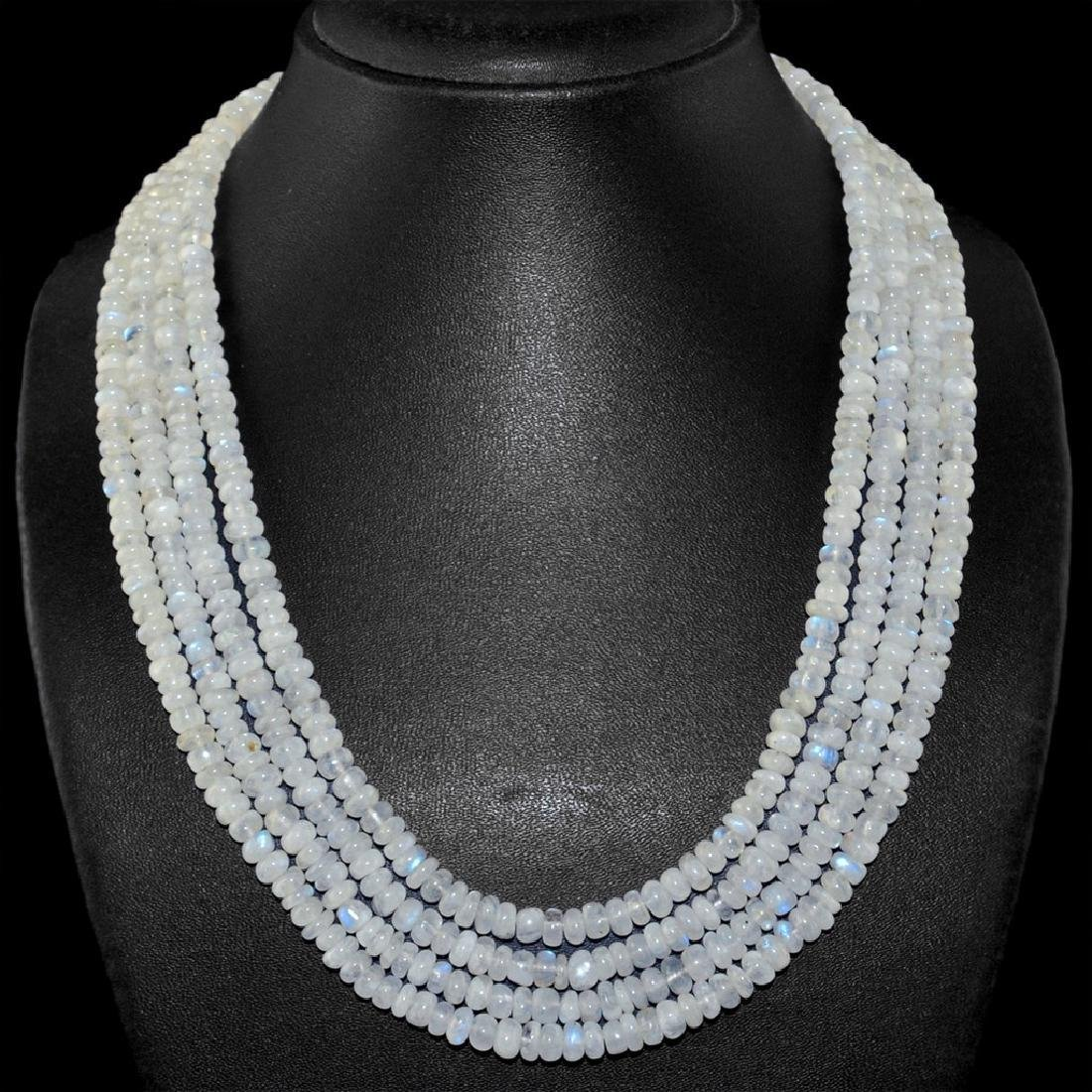White Moonstone Round Beads necklace with 18 kt