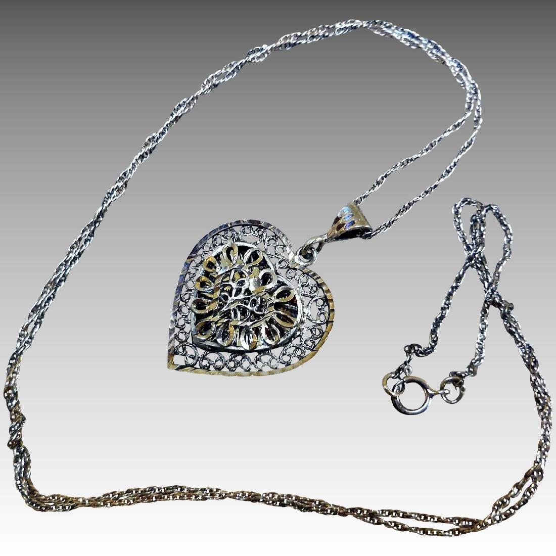 Vintage Sterling Silver Filigree Heart Necklace