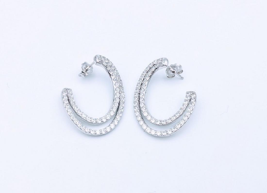 Sterling Silver Open Hoop Earrings with Cubic Zirconia