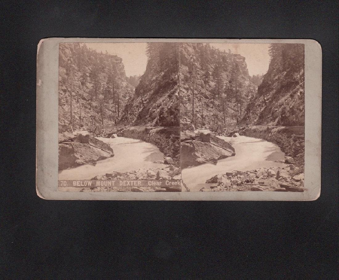 Stereoview By Weitfle Of Clear Creek Canon Below Mount