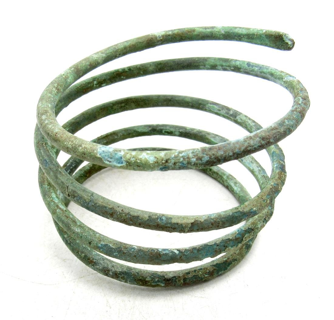 Medieval Viking Era Bronze Bracelet Coiled Like A Snake