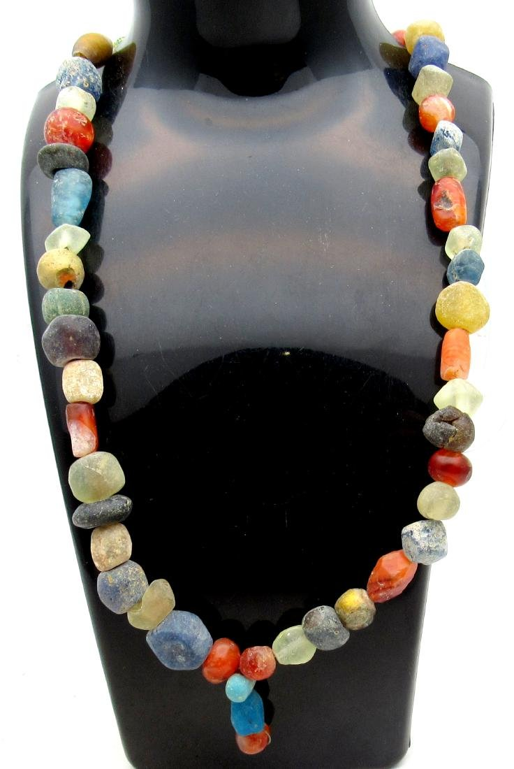 Medeival Viking Era Glass & Amber Beaded Necklace