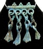 Medieval Viking Era Bronze Pendant Goose Foot Tassels