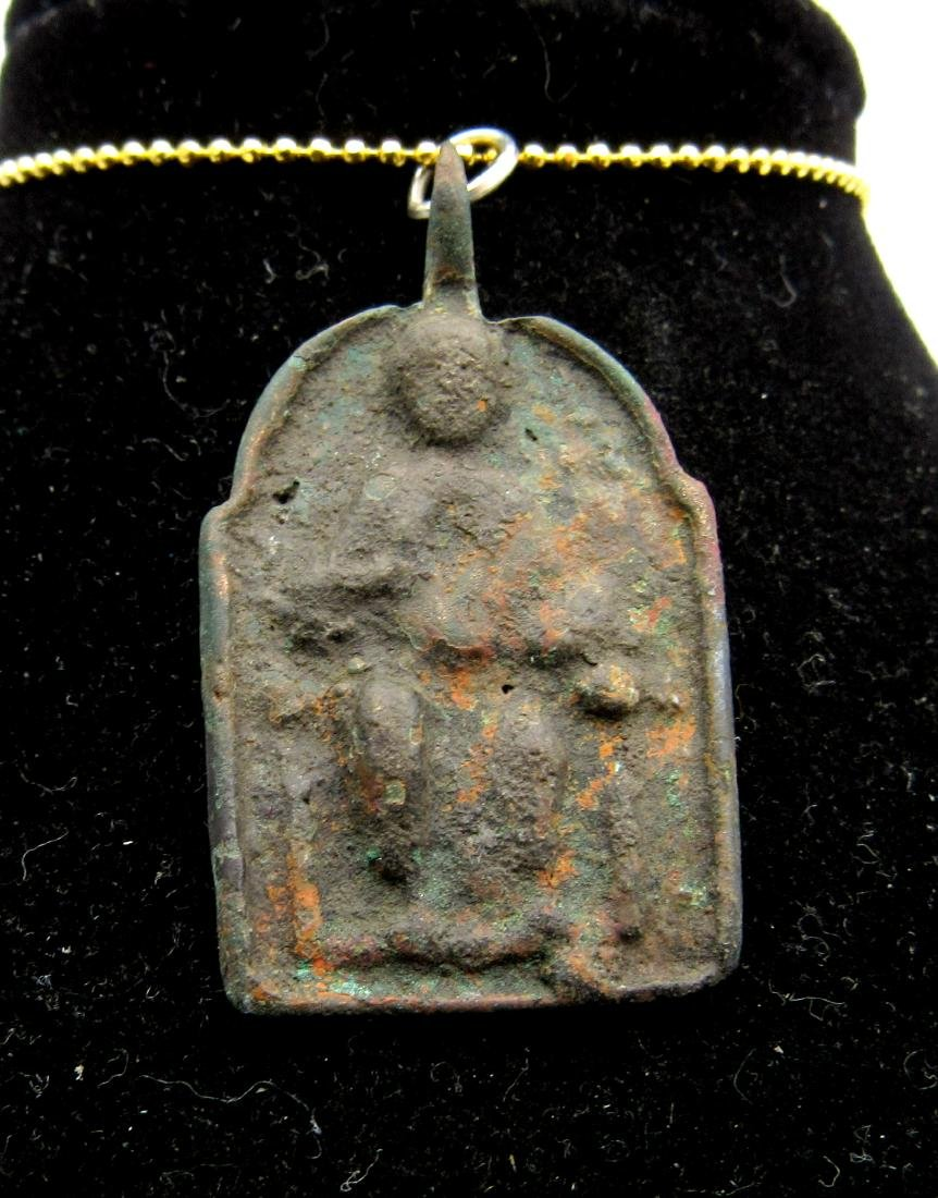 Ancient Byzantine Bronze Pendant St. George Depicted