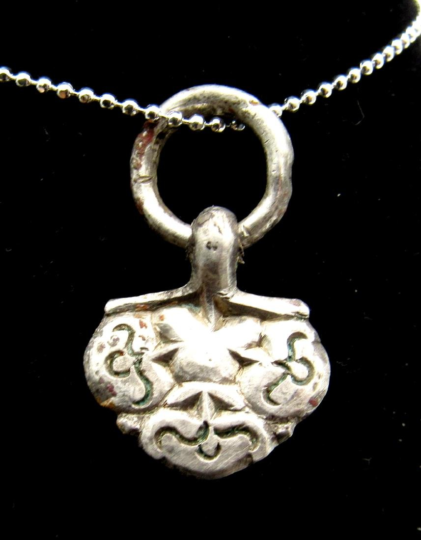Medieval Viking Era Silver Floral Pendant with Ring