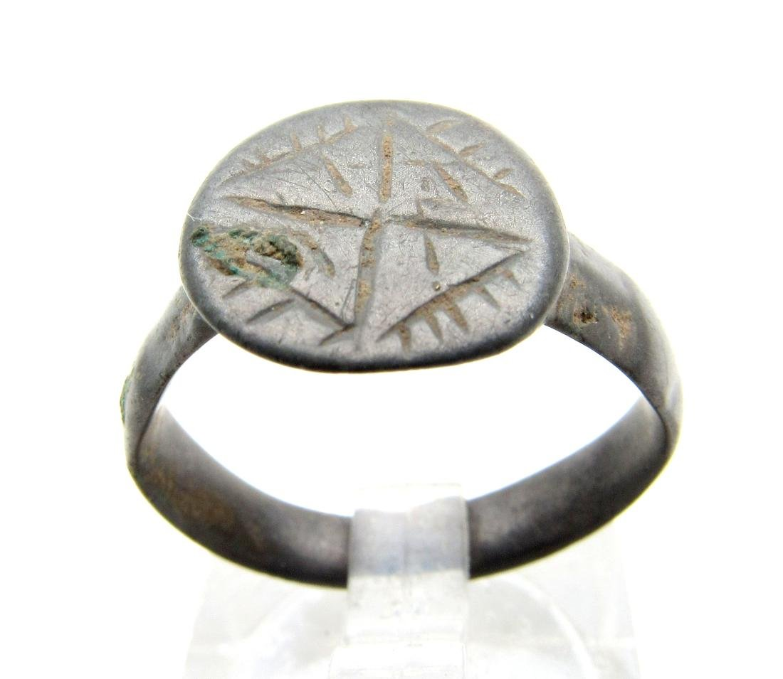 Medieval Viking Era Bronze Decorated Swastika Ring