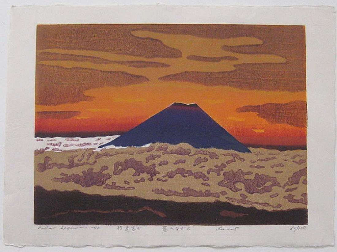 Hideo Hagiwara Woodblock Sunset Mt. Fuji