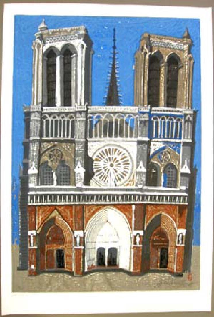 JunIchiro Sekino Woodblock Notre Dame