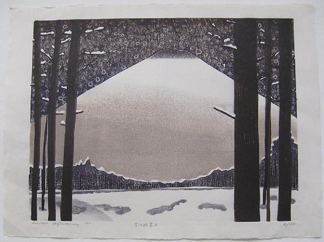 Hideo Hagiwara Woodblock Snowing Mt. Fuji