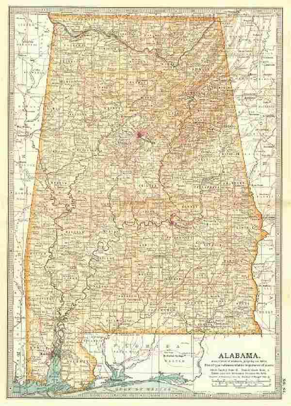 ALABAMA. State map. Counties. Shows civil war