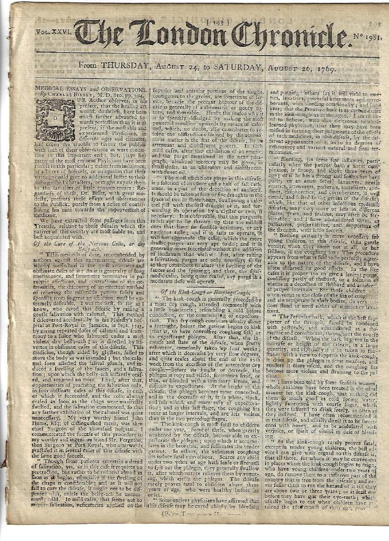1769 London Chronicle Medical Essays Colonial News