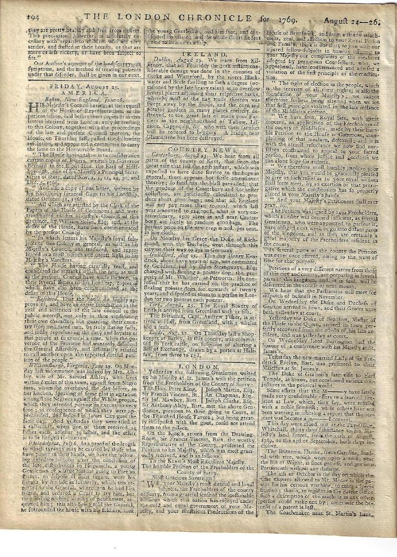 1769 London Chronicle Medical Essays Colonial News - 2