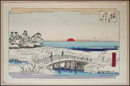 Ando Hiroshige Woodblock Morning Snow at Susaki