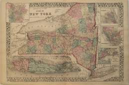 1878 Mitchell Antique Map of New York