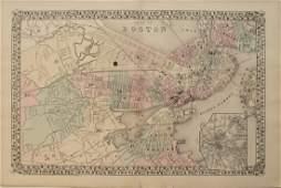 1878 Mitchell Antique Map of Boston