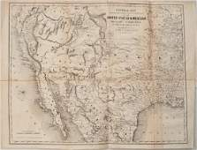 1854 Bartlett Map of Western US and Northern Mexico