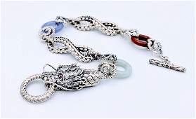 Sterling Silver Jade Jasper Sapphire Dragon Bracelet