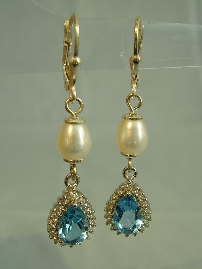Sterling Silver Blue Topaz White Pearl Earrings, 3ctw