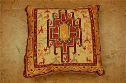 Vintage Detailed Silk Sumak Kilim Rug Pillow 1.7x1.7