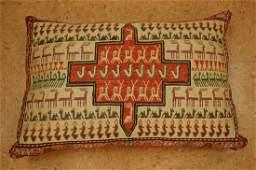 Vintage Detailed Silk Sumak Kilim Rug Pillow 1.9x2.9