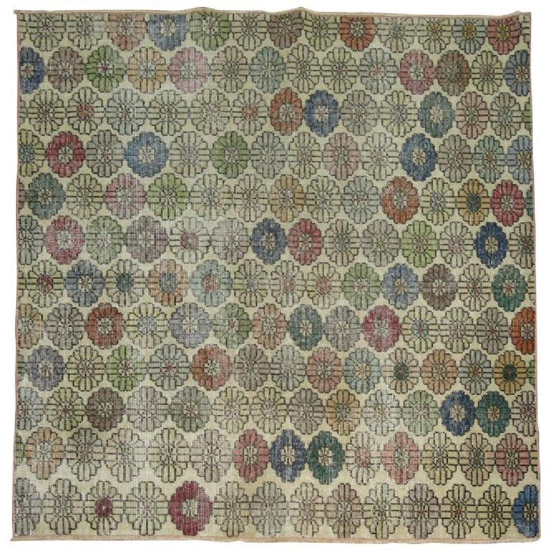 Vintage Turkish Deco Square Rug 4.11x5