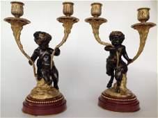 Pair Gilt Patinated Bronze Figural 2 Light Candelabra