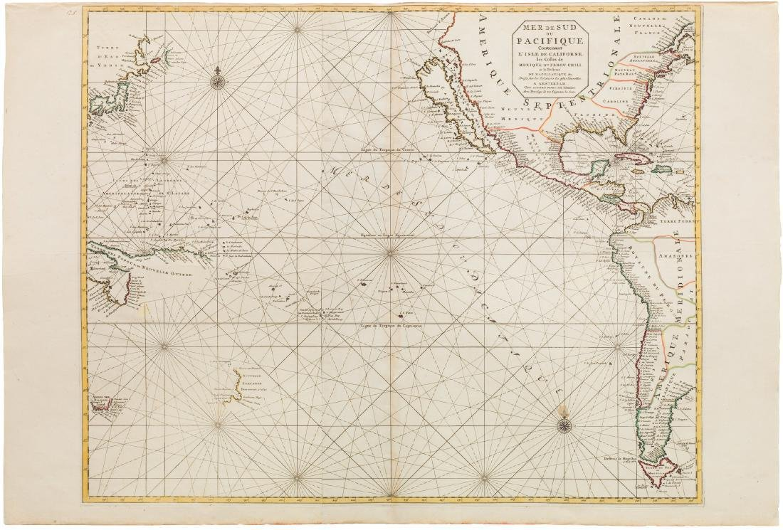 1700 Pacific sea chart with Island of California and
