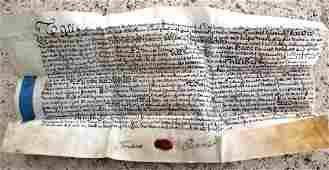 1745 English Vellum Indenture Red Wax Seal