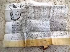 1671 Beautiful Penned English Vellum Indenture Initial