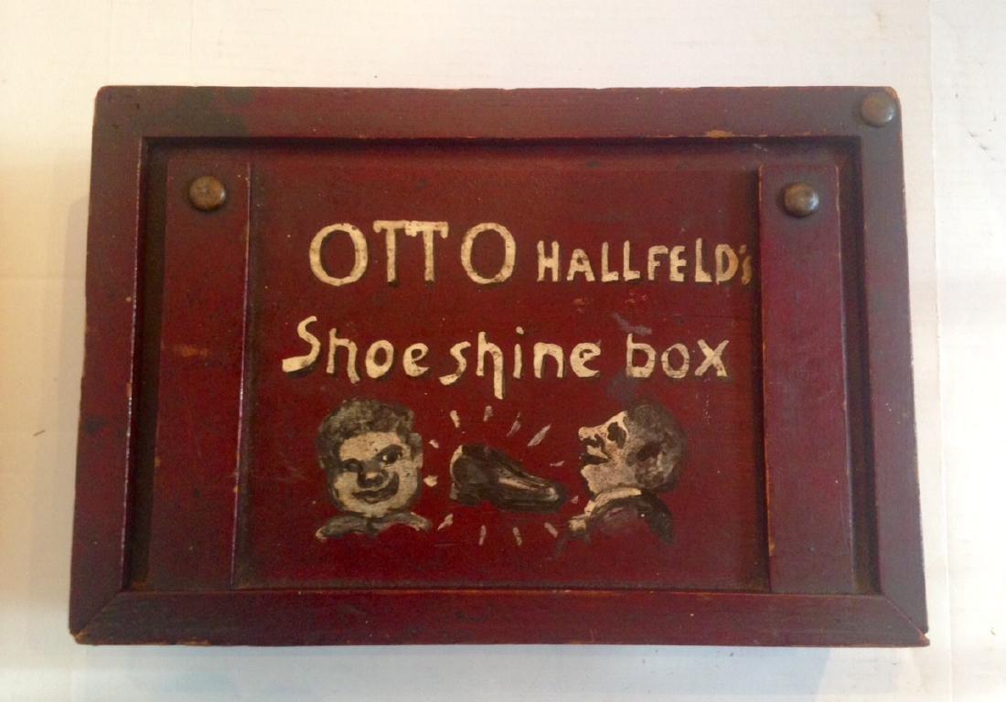 Folk Art Painted Shoeshine Box 1900c