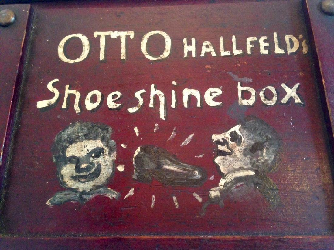 Folk Art Painted Shoeshine Box 1900c - 3
