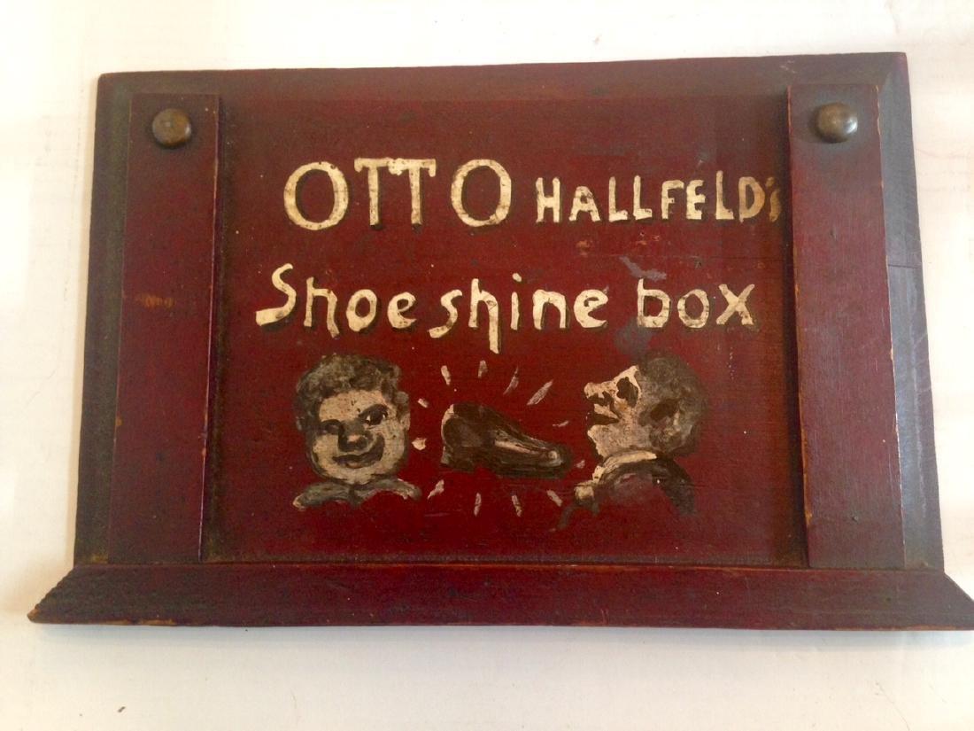 Folk Art Painted Shoeshine Box 1900c - 5