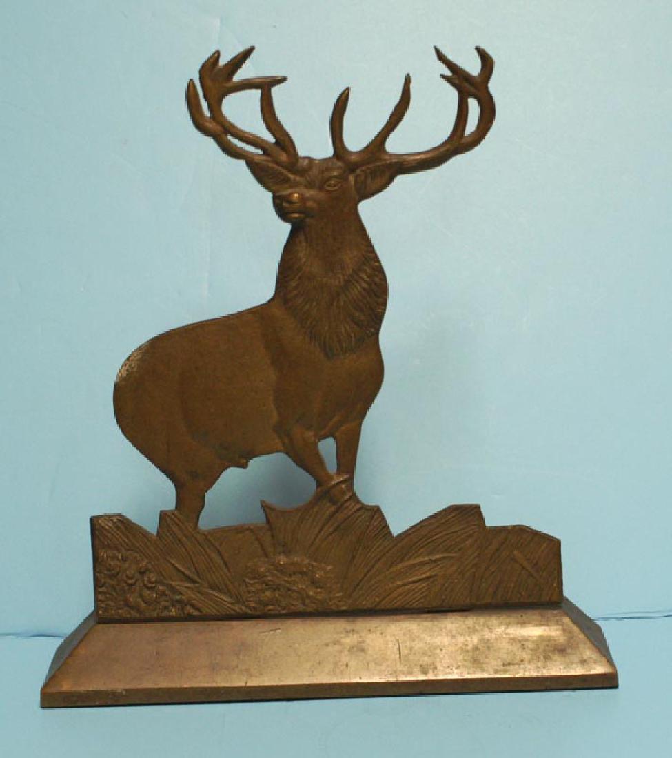 Antique Cast Brass Elk Doorstop