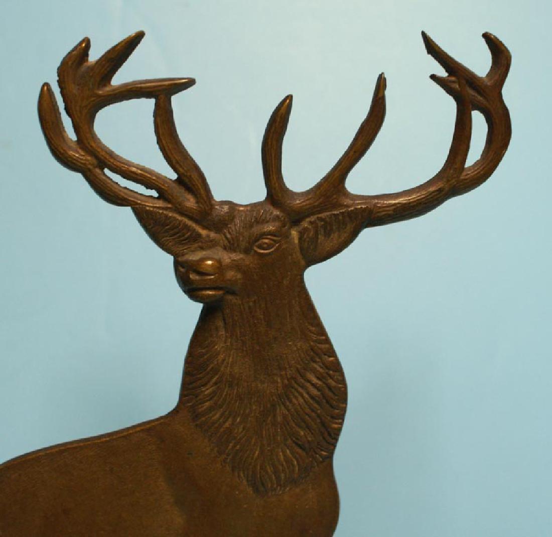 Antique Cast Brass Elk Doorstop - 2