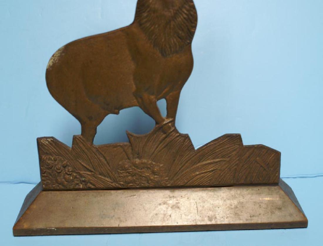 Antique Cast Brass Elk Doorstop - 3