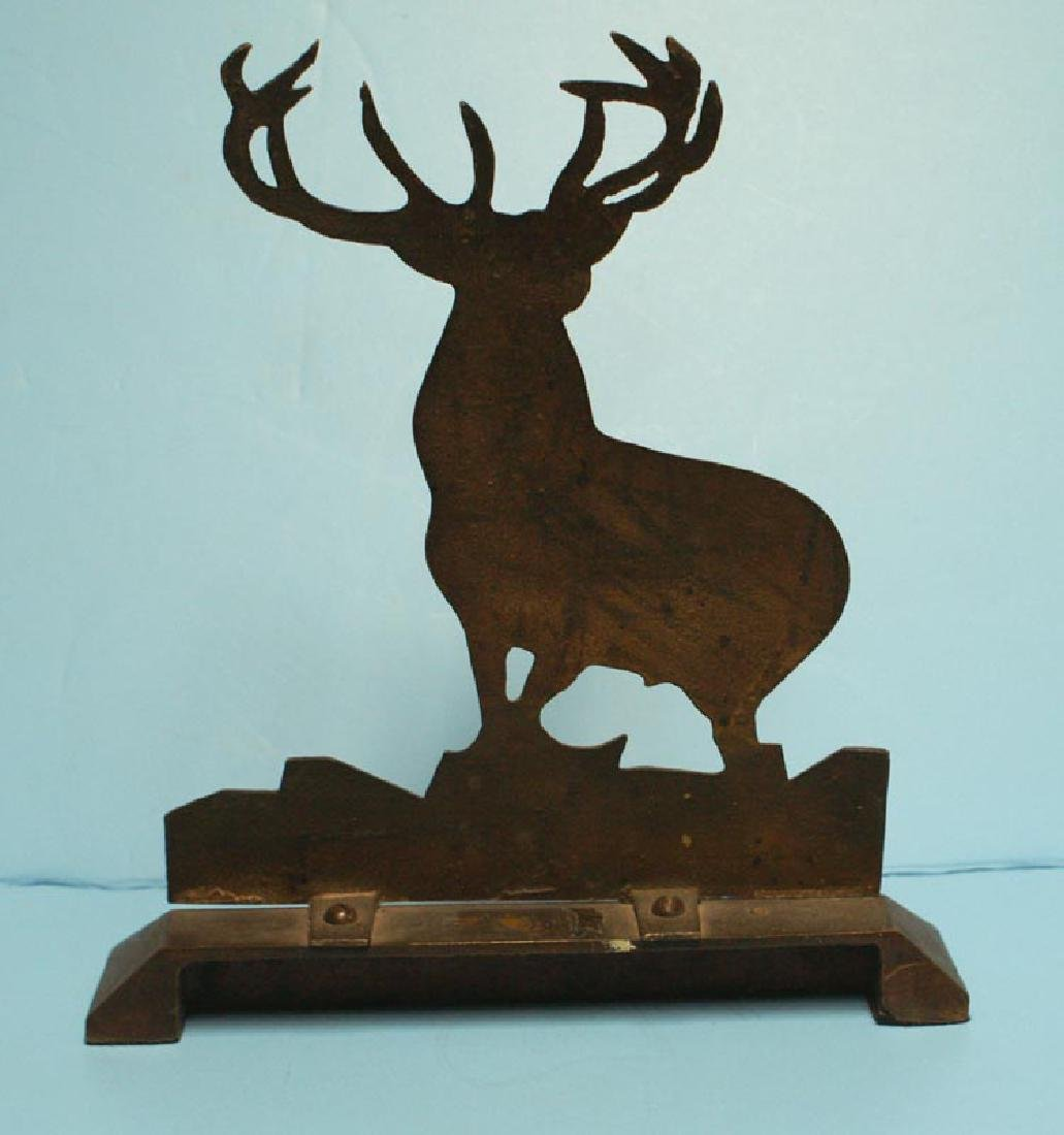 Antique Cast Brass Elk Doorstop - 4