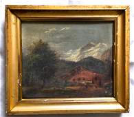 19th C Oil On Canvas