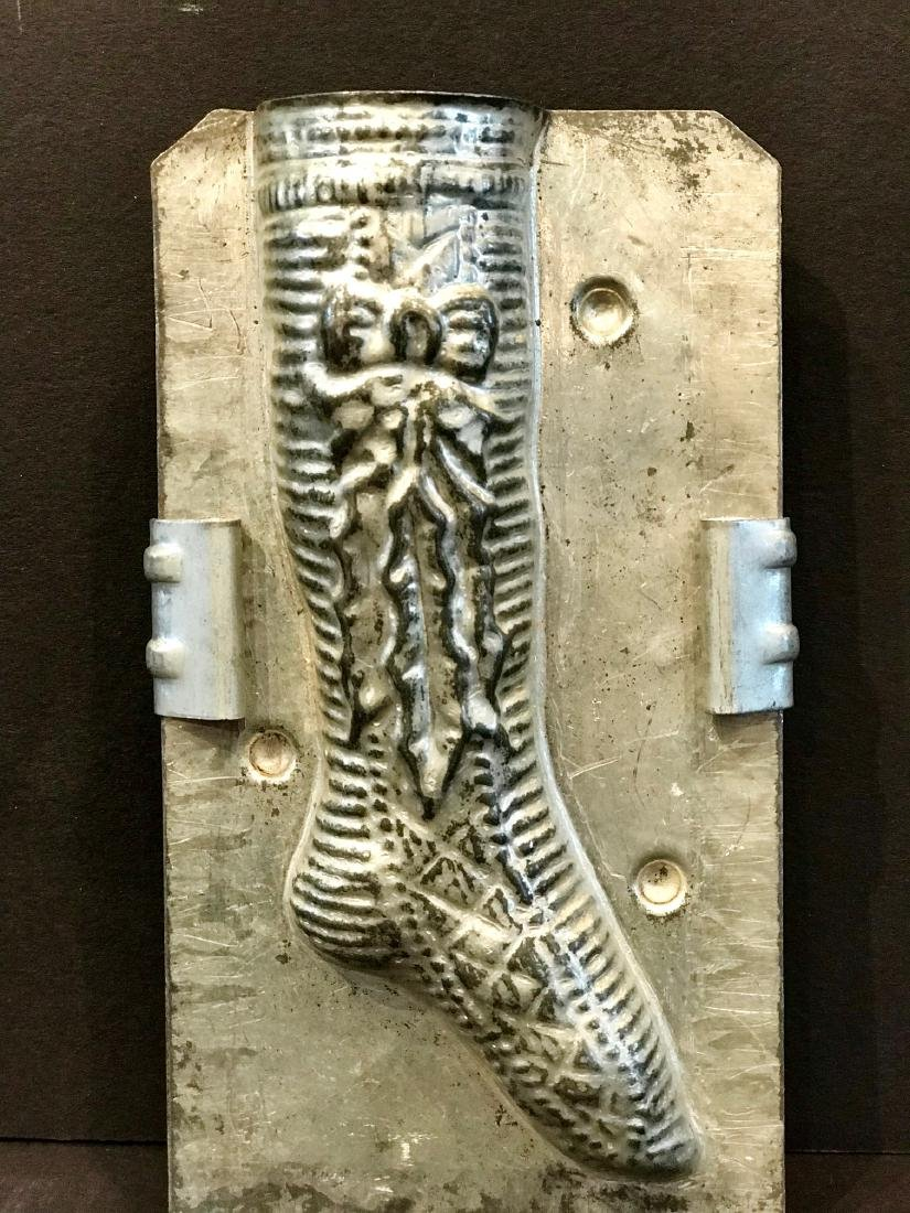 """""""Merry X-mass"""" Stocking Chocolate Mold, Early 20th c - 2"""