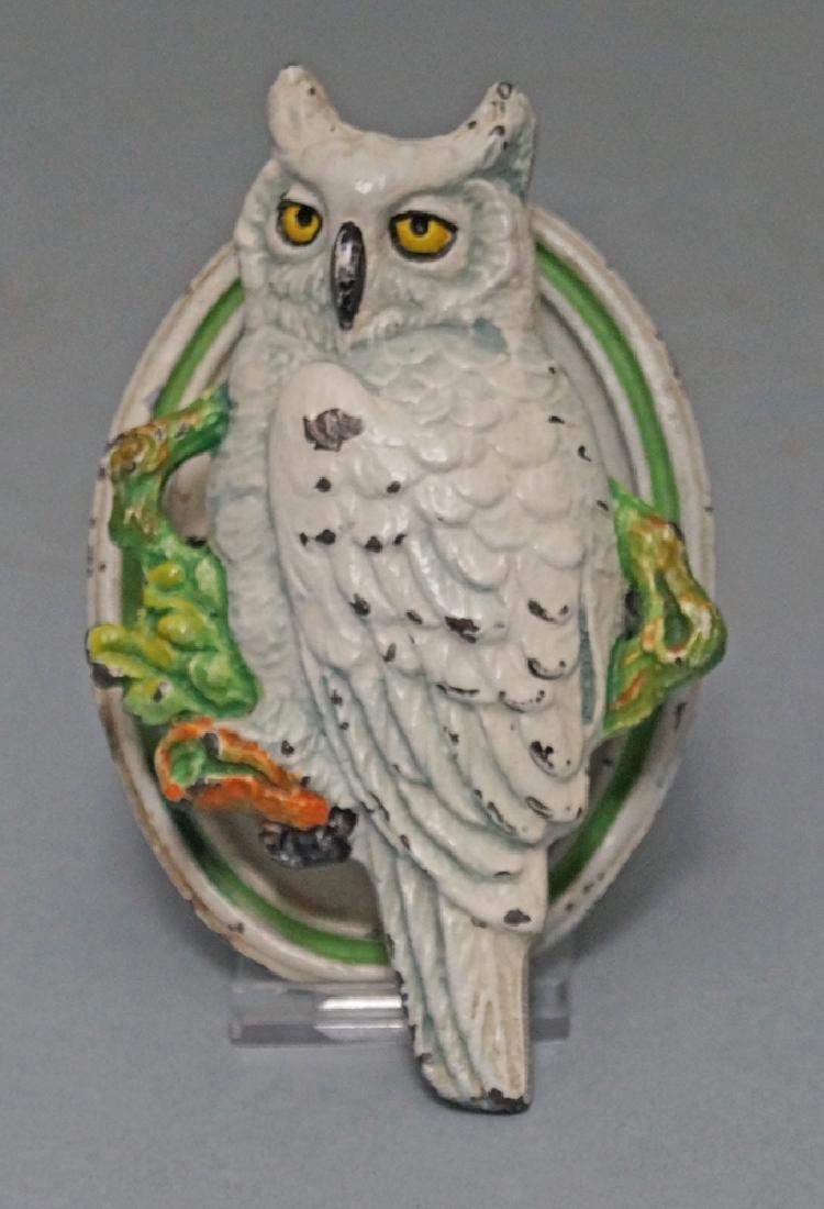 Antique Snowy Owl Cast Iron Doorknocker