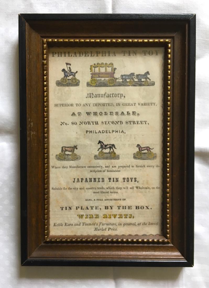 Original, Rare 1840 Advert fro Philadelphia Tin Toy Co